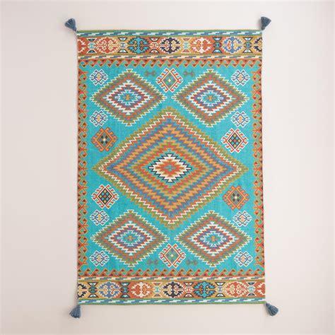 world market rug blue odina kilim flatweave reversible indoor outdoor rug