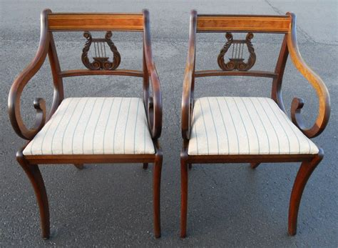 set of six regency style inlaid mahogany lyre back dining