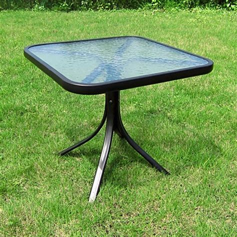 small square table outdoor glass top side patio metal