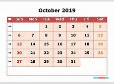 2019 Printable Calendar October with Week Numbers 2018