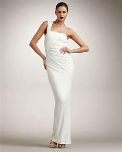 donna karan new york twist one shoulder gown in white With donna karan wedding dresses