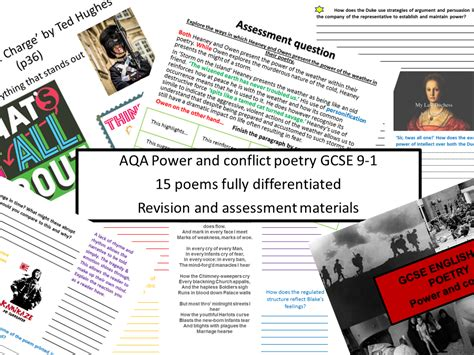 Edexcel Conflict Poetry New Specification 91 Gcse All 15 Poems Differentiated By Mrcrawfordeng
