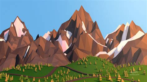 wallpaper fox low poly 3d 3d low poly mountain by cepsky Wallp