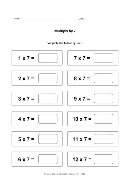 Seven Times Tables Practice  Multiply By 7 Quiz & Worksheets