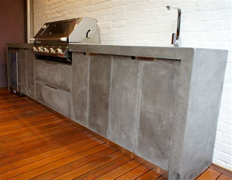 Outdoor Kitchen with Polished Concrete bench top, doors