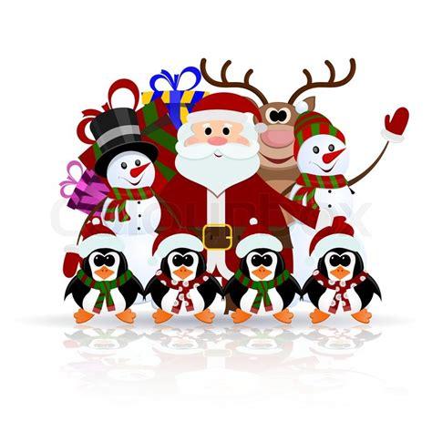 santa claus penguins reindeer  snowman   ice