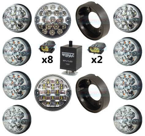 land rover defender clear 10 led l light complete upgrade kit rdx wipac