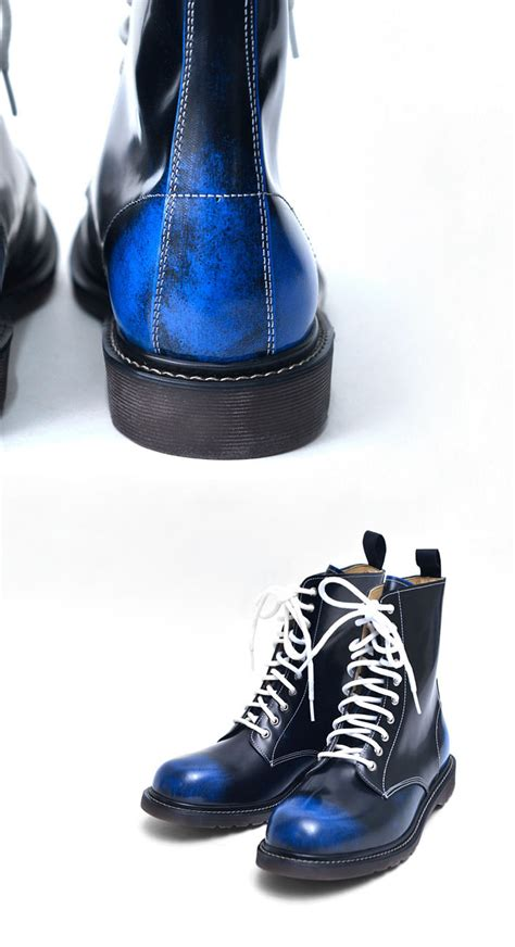 white biker boots blue black gradation mens white lace combat motorcycle
