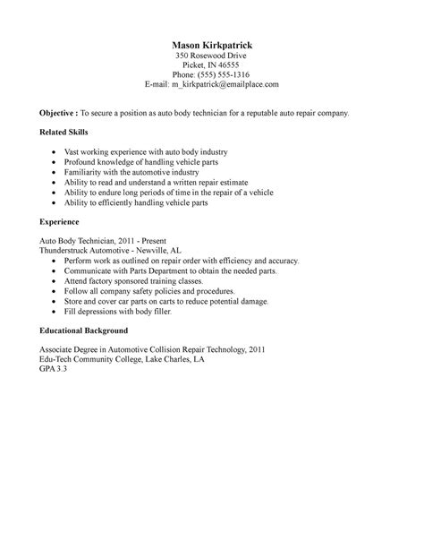 automotive collision repair sle resume pmo