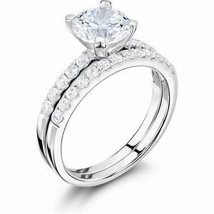 Classic round diamond engagement wedding ring set for Wedding ring sets uk