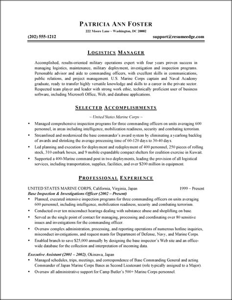 resume sles for logistics executives 28 images sle