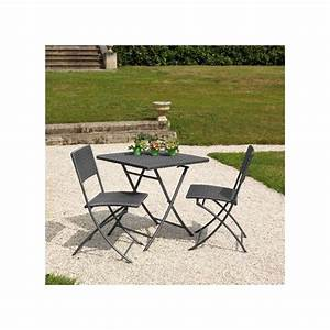 Salon De Jardin Pliant : salon de jardin 2 pers r sine tress e gris gu ridon table ~ Teatrodelosmanantiales.com Idées de Décoration