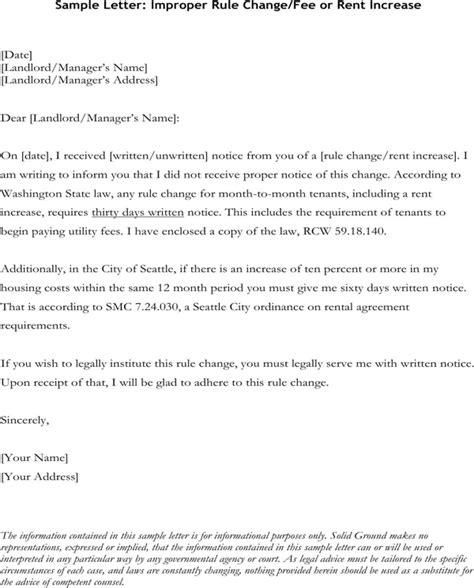 sample letter improper rule changefee  rent