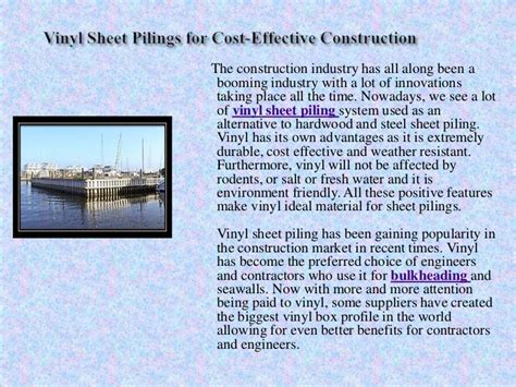 vinyl sheet pilings for cost effective construction