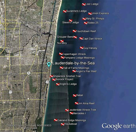 lauderdale   sea scuba dive map   sea realty