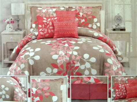 coral  taupe bedding gorgeous bedroom update