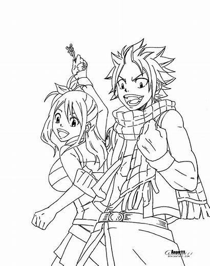 Fairy Natsu Tail Coloring Lucy Pages Anime