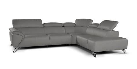 Nicoletti Sofa by Nicoletti Tesla Sectional Sofa In Grey Italian Leather