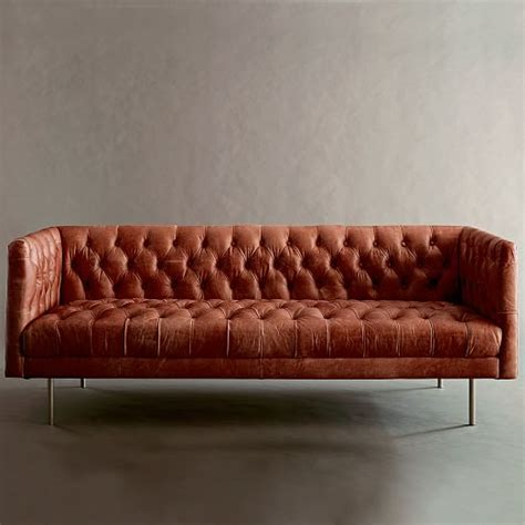 chesterfield sofa modern modern chesterfield leather sofa 79 quot west elm