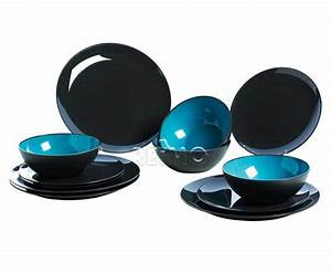 Service A Vaisselle : service a vaisselle 4 personnes gris turquoise 12 pi ces ~ Teatrodelosmanantiales.com Idées de Décoration