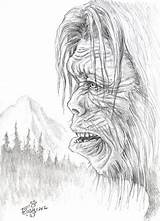 Sasquatch Coloring Yeti Bigfoot Foot Pages Drawing Colouring Sheets Adult Creature Pencil Fire Dsg Books Mario Cryptozoology Sketchite Idle sketch template