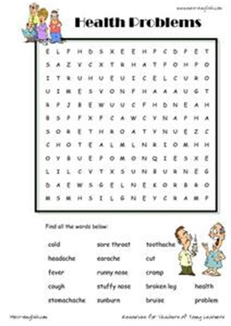 health problems word searches worksheet  st