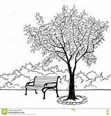 Park Bench Coloring Pages Garden Landscape Tree Sketch Doodle Template Nature sketch template