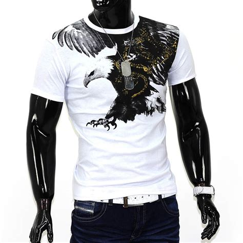 herren sommer t shirt polo stretch slim fit clubwear shirt flying eagle adler de ebay