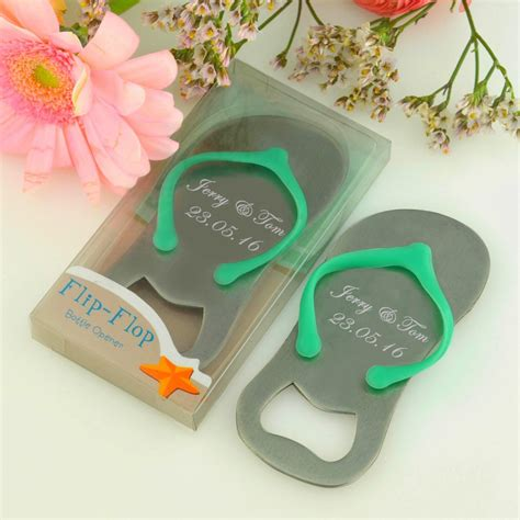 100Pcs Customized Wedding Favor And Gift Personalized Wedding Souvenirs For Guests Flip Flop