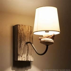 Abat Jour En Bois : applique en bois flott et galets avec abat jour en coton ~ Dailycaller-alerts.com Idées de Décoration