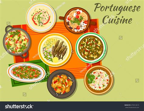 sardine cuisine portuguese cuisine cabbage sausage soup caldo stock vector