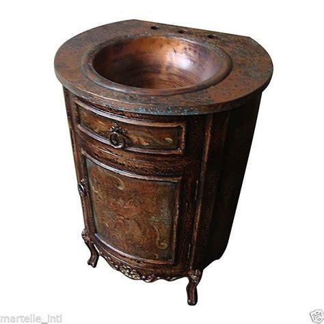 bathroom vanity cabinet copper sink top foyer antique