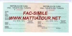 Visto Ingresso Cuba by Visti Cuba On Line Targhette Turistiche Cuba