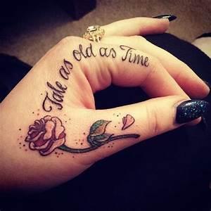 Tatouage Sur Doigt : a single rose and a quote tattoomodels tattoo tats tatouage tatouage disney beau tatouage ~ Melissatoandfro.com Idées de Décoration