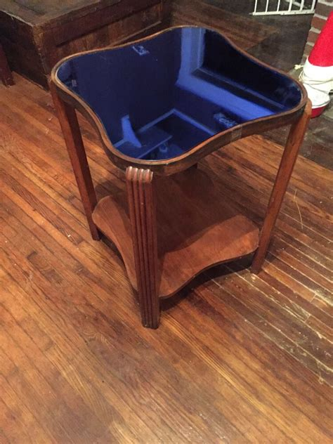 Each piece is lovingly selected from new zealand and around the globe and restored to the highest standard. Vintage Art Deco Cobalt Blue Glass Mirror Wood Large Square Coffee Table w Shelf   eBay