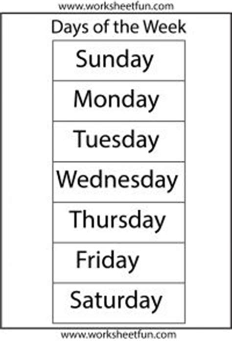 days   week  worksheet printable charts