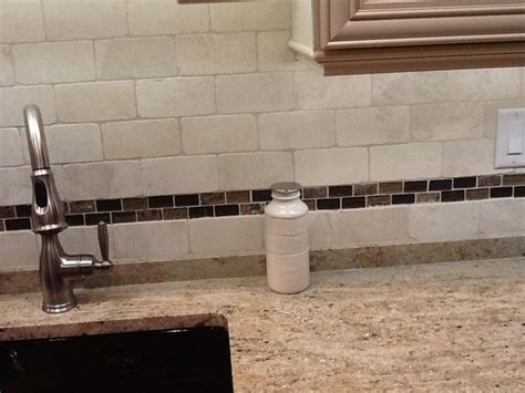 subway tile and of mosaic on colonial granite