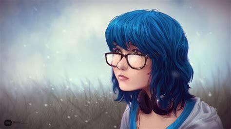 Headphones Women Close Up Grass Lips Glasses Brown Eyes