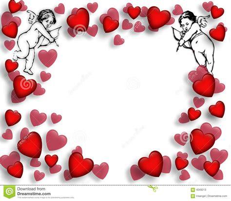 Valentine Hearts And Cupids Border Stock Illustration ...