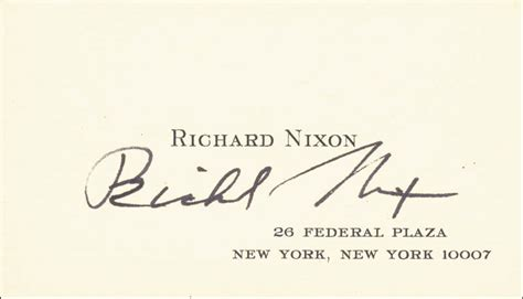 president richard  nixon business card signed