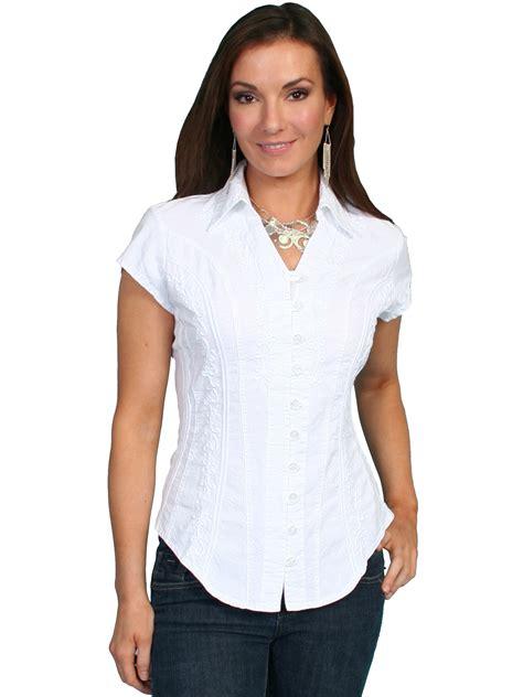 scully womens cotton soutache cap sleeve button western