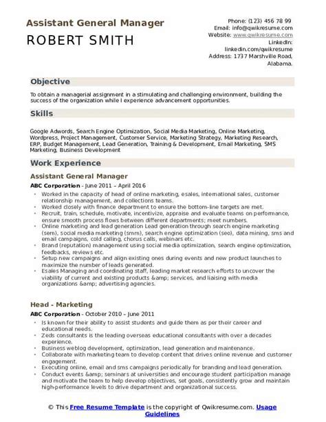 Business Development Sales Manager Resume by Assistant General Manager Resume Sles Qwikresume