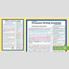 * New * Y5 Naplan Persuasive Writing Annotated Example Poster