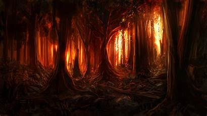 Fire Forest Burning Background Painting Wood Digital