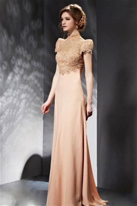 Vintage Chiffon A Line High Neck Evening Dress With