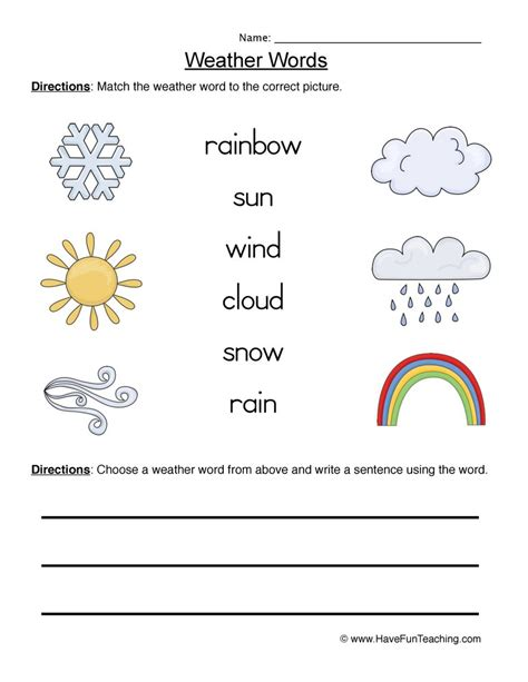Weather Words Worksheet 1 Matching