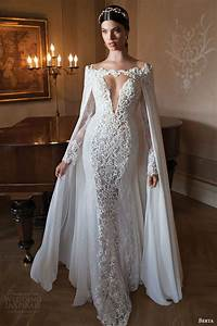 berta 2015 bridal collection long sleeve wedding dresses With wedding dress with long cape