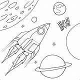 Coloring Planets Space Printable Solar System Rocket sketch template