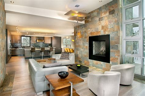 decorative stone wall living room contemporary  accent wall ceiling lighting