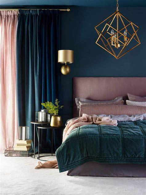 dark blue  pink bedroom curtain combinations homemydesign